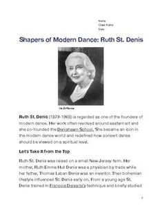Close reading activity includes biography of Ruth St. Denis with underlined vocabulary and worksheet for students to understand the interconnectedness of dance and culture within history. Teach Dance, Dance Class, Dance Articles, Dancer Stretches, Ballet Dancers, Ballerinas, Close Reading Activities, St Denis, Leo Love
