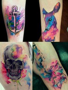 Eu quero fazer uma tatto!  Já decidi. Só falta a grana e um tatuador que saiba usar a técnica watercolor . Que nada mais é do que essas...