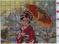 Japan geisha woman x-stitch Counted Cross Stitch Patterns, Cross Stitch Designs, Cross Stitch Embroidery, Embroidery Patterns, Chinese Design, Peyote Patterns, Needlepoint, Needlework, Crafts