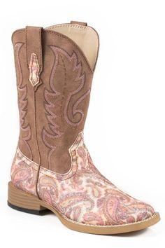 Girls Glitter Paisley Boots