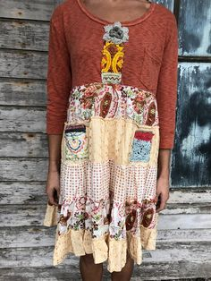"""Romantic/Tattered/Rustic/Boho/Gypsy upper part is made with cotton and has added trim along front lower part is made with cotton and has two added pockets Size-small medium Chest-42"""" has stretch Hips-50"""" Length-36"""""""