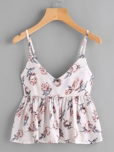 To find out about the Florals Peplum Cami Top at SHEIN, part of our latest Tank Tops & Camis ready to shop online today! Diy Clothes, Clothes For Women, Mode Top, Casual Skirt Outfits, Personalized T Shirts, Cami Tops, Peplum Tops, Ladies Dress Design, Fashion Outfits