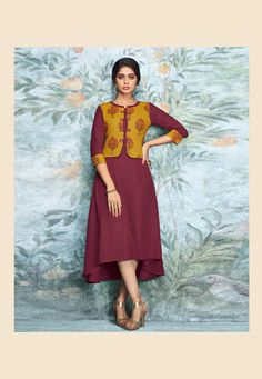 Buy kurti online from an endless collection of latest kurti. Shop groovy print work party wear kurti for festival. Pakistani Dresses Casual, Casual Dresses, Kurti With Jacket, Latest Kurti, Kurti Collection, Kurti Neck Designs, One Piece Outfit, Indian Designer Wear, How To Dye Fabric