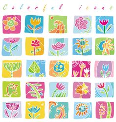 Colorful floral icons vector on VectorStock