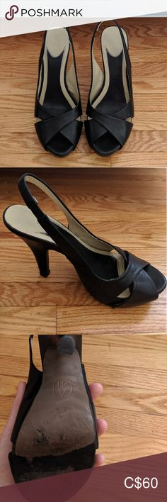 "Ash Black Leather Slingback Heels Black leather slingback heel by ASH shoes, a top brand at Nordstrom and favourite brand of celeb #ASHgirls Hailey Bieber, Gigi Hadid and Kylie Jenner.   -heel 3.75"" 1"" platform -elasticized slingback strap -leather upper and lining -wooden heel -lightly cushioned for comfort  In very good pre-owned condition - minor scuffing on soles and very small scratch to leather on inner part of the left shoe. Ash Shoes Heels Ash Shoes, Shoes Heels, Gigi Hadid, Black Heels, Kylie Jenner, Kitten Heels, Black Leather, Nordstrom, Dance Shoes"