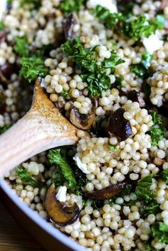 Pearl couscous with sauteed balsamic mushrooms, onions, ribbons of kale and creamy goat cheese.