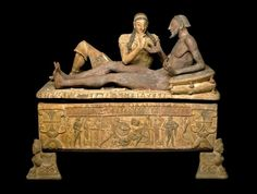 The Sarcophagus of the Spouses is the name given to this monumental terracotta Etruscan funerary urn, representing two spouses reclining side by side in a typical Etruscan banquet pose. Their ashes or remains were placed in the urn.