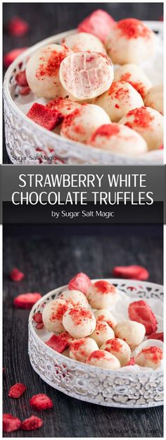 These Strawberry White Chocolate Truffles have an intense strawberry flavour in a little chocolate treat. The best part? This recipe only uses 3 ingredients and truffles make such a great gift too. White Chocolate Truffles, Chocolate Treats, Chocolate Brownies, Chocolate Covered, White Chocolate Recipes, Chocolate Chocolate, Homemade Truffles, Homemade Candies, Homemade Chocolates