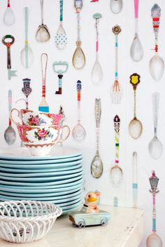 Teaspoons Wallpaper from Studio Ditte : Remodelista. This would be fun on the back of bookshelves near a kitchen or dining room Kitchen Decor, Kitchen Design, Quirky Kitchen, Kitchen Wall Paper Ideas, Whimsical Kitchen, Awesome Kitchen, Kitchen Pantry, Kitchen Colors, Kitchen Living