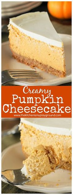 Creamy Pumpkin Cheesecake ~ a fabulously creamy & delicious fall #dessert. Perfect for Thanksgiving and Christmas, too! #pumpkindesserts #pumpkinspice #cheesecake #Thanksgiving #thekitchenismyplayground www.thekitchenismyplayground.com
