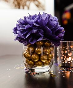 Paper Flower table centerpiece/Purple and gold centerpiece/paper flower arrangement/pom pom decoration/wedding centerpiece/table decor by justyrs on Etsy