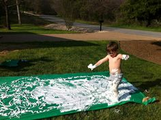 $2 - plastic table cloth & a can of shaving cream.....oh my:) cant wait for summer!