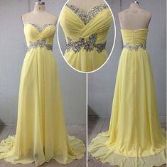 Bg938 Sweetheart Prom Dress,Charming Prom Dress,Chiffon Yellow Prom