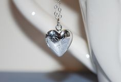 Sweet heart locket. Small silver locket, locket with sterling silver chain, child's locket, gift by KimMcCallJewelry on Etsy