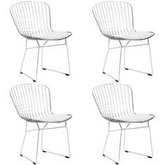 Set of 4 - Bertoia Style Wire Dining Chair