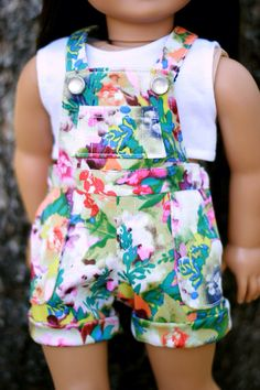 "Tidal Shorts, Overall Shorts in a Floral Sateen Fabric with Snaps, to fit American Girl And other 18"" Dolls"
