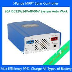 HOT SELLING !  IPANDA 20A solar charger DC12V/24V/48V/ 96V 20A MPPT PV Charge Controller LCD PV Regulator for lithium batteries #Affiliate