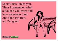 Sometimes I miss you.  Then I remember what a douche you were and how awesome I am.  And then I'm like, no, I'm good.  :):):)