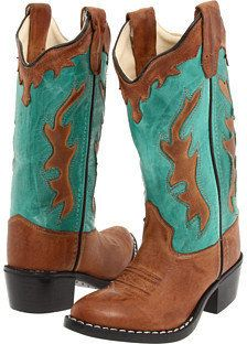 Old West Kids Boots - Fashion Western Boot (Toddler/Youth) (Tan Canyon/Vintage Turquoise) - Footwear - ShopStyle Girls' Shoes Little Girl Boots, Girl Cowboy Boots, Western Boots, Cowboy Western, Toddler Boots, Kids Boots, Baby Girl Shoes, Girls Shoes, Cool Kids Clothes