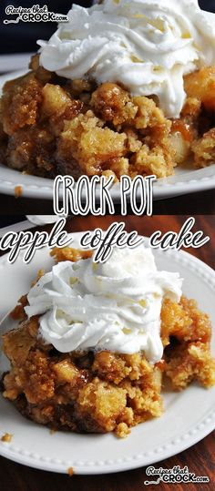 This Crock Pot Apple Coffee Cake is the perfect treat for breakfast, dessert or as a snack! Slow Cooker Desserts, Crock Pot Desserts, Crockpot Dishes, Crock Pot Slow Cooker, Crock Pot Cooking, Cooking Recipes, Crockpot Meals, Crock Pots, Brownie Desserts