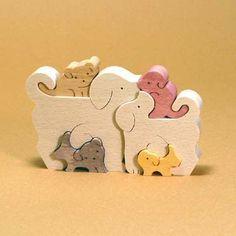 組み木 木のおもちゃ 『遊プラン』 KA680 | 6匹のイヌの家族・SC