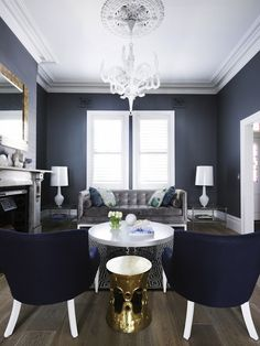 Sophisticated living room with charcoal grey wells and plenty of white molding.