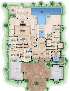 Luxury Style House Plans - 5377 Square Foot Home, 1 Story, 4 Bedroom and 4 3 Bath, 5 Garage Stalls by Monster House Plans - Plan 55-233