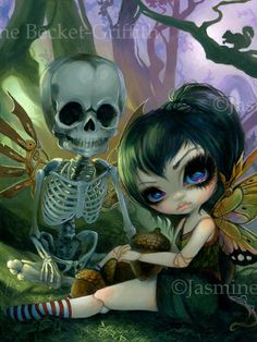 Eve and Rib steampunk fairy skeleton Jasmine & Matthew David Becket - art by Jasmine Becket-Griffith clockwork fairy steampunk wings art skull illustration