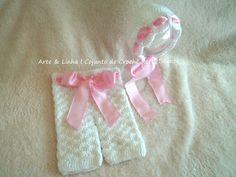 Conjunto de Crochê Retrô Branco e Rosa artelinharj@gmail.com 62 98146.4188