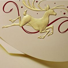 Holiday cards yule love: Hand Engraved Leaping Stag Holiday Card