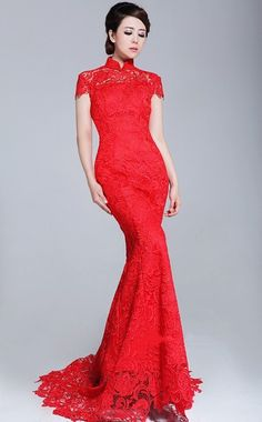 Fabulous Chinese Red Wedding Dress Qipao cheongsam