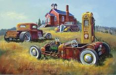 Ol Skool  Hot Rod Art | larrysartdirect - Painting on ArtFire