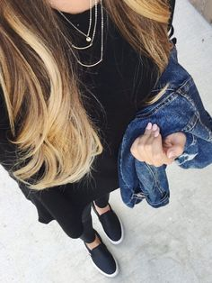 all black casual outfit - leather leggings, leather perforated slip on Vans, black tee