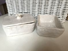 Coil built butter dish and roasting tray chunky white pottery