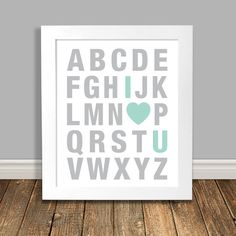 Mint Nursery Art Alphabet Nursery Art I Love You by HappyHippoArts