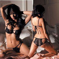 Sexy Lingerie Lace Dress Women Underwear Babydoll Sleepwear G-string Black
