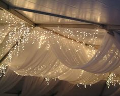 Formal Barn Party fabric drapery and lights