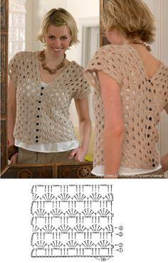 Crochet - Blusa Bege