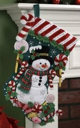 Bucilla ® Seasonal - Felt - Stocking Kits - Candy Snowman. #bucilla #stockings #christmas #plaidcrafts