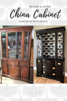 Black Painted China Cabinet - Painted by Kayla Payne The best satin black paint for furniture. Painted Hepplewhite china cabinet before and after. Black painted china cabinet with brass hardware Black Painted Furniture, Wood Bedroom Furniture, Refurbished Furniture, Repurposed Furniture, Furniture Makeover, Painting Furniture, Furniture Projects, Diy Painting, Garden Furniture