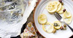 lemon parchment halibut with olives and parsnips