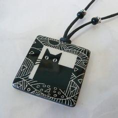 Big Black Cat ceramic pendant - The Magical Animal - Virginia Miska, $30.00