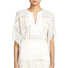 BCBGMAXAZRIA Reginah Lace-Paneled Caftan Top (1 685 ZAR) ❤ liked on Polyvore featuring tops, tunics, apparel & accessories, ivory, white lace kaftan, sheer caftan, ivory lace top, lace tunic and sheer tops