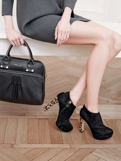 TWIN-SET Simona Barbieri: pleated bag with multiple pockets and detachable shoulder strap, suede ankle boots with heels covered in spotted ponyskin