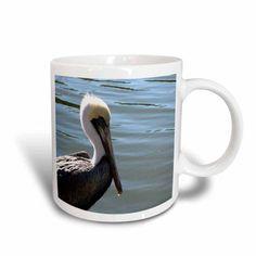 3dRose pelican head left side against river, Ceramic Mug, 11-ounce