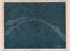 1892 german map of the stars of the northern sky