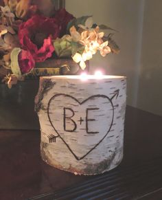 "Personalized Birch 3 Tea Light  Candle Holder  Valentines Day Wedding Centerpieces 4"" Tall - Home Decor  Bridal Shower Decor Gift"