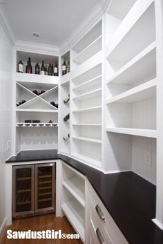would not want shelves all the way to counter top, or open, but otherwise I like this ok Walk-in Pantry