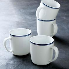 Williams-Sonoma Open Kitchen Bistro Mugs, Set of 4, Blue
