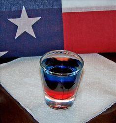 Patriot Shooter (1/3 oz vodka 1/3 oz blue curacao 1/3 oz grenadine)
